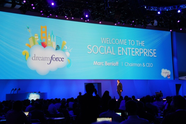 Marc Benioff on stage at Dreamforce talking the Social Enterprise