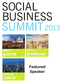 Dion Hinchcliffe Speaking at Social Business Summit 2013 Tokyo Shanghai and Austin