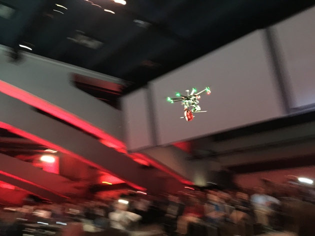A drone delivers an order of Coca-Cola Parker Harris, triggered using a new Lightning app that was just built live on stage at Dreamforce 14. #df14