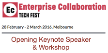 Enterprise Collaboration Tech Fest 2016 Keynote and Workshop in Melbourne, Australia by Dion Hinchcliffe