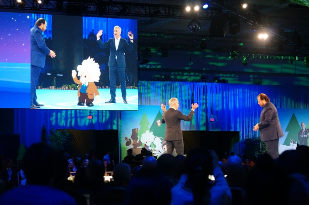An Einstein avatar appears between Parker Harris and Marc Benioff at Dreamforce 2016
